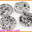 GQ022 20PCS 21MM SILVER GREY BLACK DOT FLAT ROUND BEADS