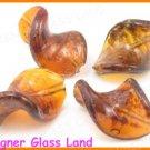 GQ024 LOT 10PCS*30MM LAMPWORK GLASS LEAF BEADS DIY