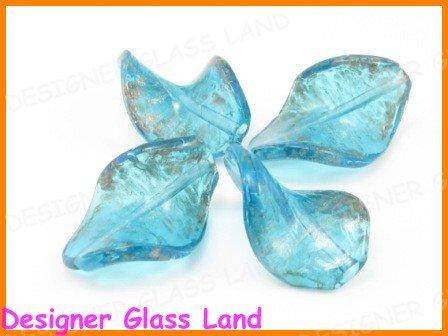 GQ025 LOT 10PCS*30MM LAMPWORK GLASS LEAF BEADS DIY