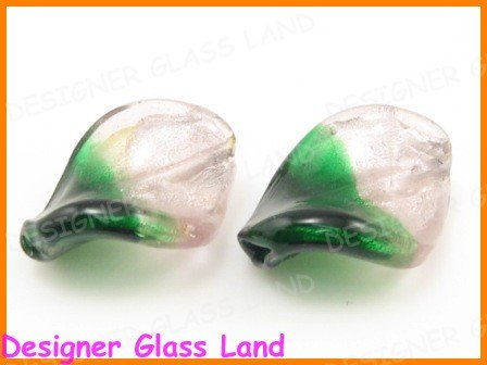 GQ029 LOT 20PCS*21MM LAMPWORK GLASS LEAF BEADS DIY