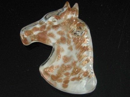 P1219 LAMPWORK GLASS WHITE HORSE HEAD PENDANT