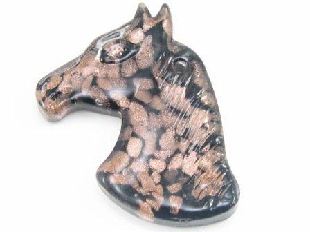 P1221 LAMPWORK GLASS BLACK HORSE HEAD PENDANT