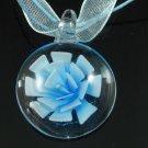 P1224 LAMPWORK GLASS BLUE 3D ROUND PENDANT NECKLACE