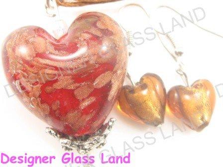 PE120F LAMPWORK GLASS RED HEART PENDANT EARRINGS SET