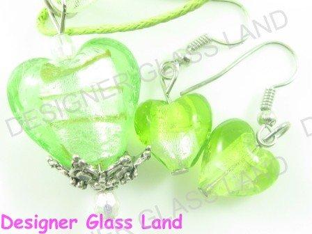PE119F LAMPWORK GLASS GREEN HEART PENDANT EARRINGS SET
