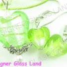 PE119F LAMPWORK GLASS GREEN HEART PENDANT EARRINGS SET