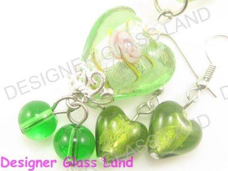 PE116 LAMPWORK GLASS GRREN HEART PENDANT EARRINGS SET