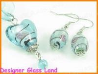 PE021F LAMPWORK GLASS BLUE HEART PENDANT EARRINGS SET