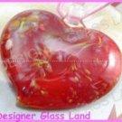 P868 LAMPWORK GLASS ORANGE RED HEART PENDANT NECKLACE