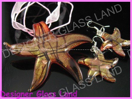 PE054F LAMPWORK GLASS RED STAR PENDANT EARRINGS SET