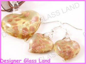 PE053F LAMPWORK GLASS GOLDEN HEART PENDANT EARRINGS SET