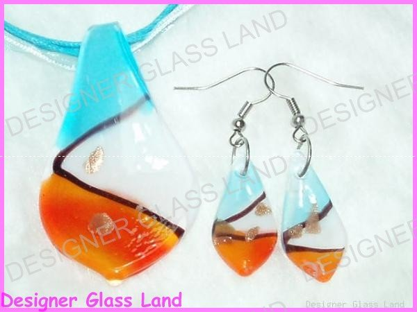 PE042F LAMPWORK GLASS LEAF PENDANT EARRING SET GIFT