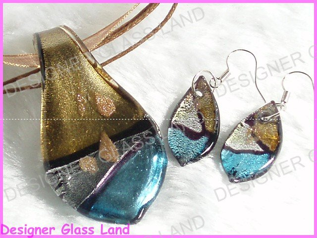 PE031F LAMPWORK GLASS LEAF PENDANT EARRINGS SET