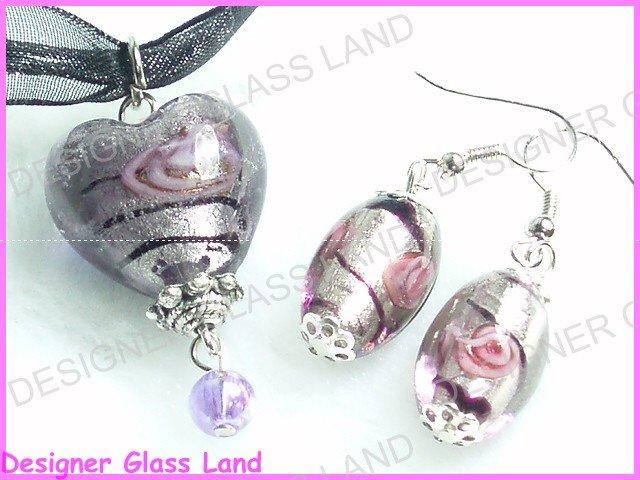 PE008F MURANO GLASS SMOKY HEART PENDANT EARRINGS SET