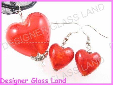 PE001F GLASS RED HEART SILVER PENDANT EARRINGS SET