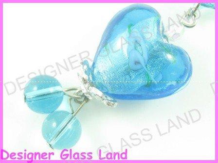 PE113 LAMPWORK GLASS BLUE HEART PENDANT EARRINGS SET