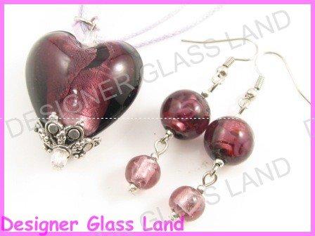 PE095 Lampwork Glass Purple Heart Silver Pendant Earrings Set Best for Gift