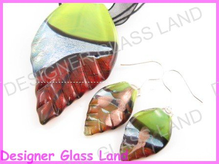 PE096 Lampwork Glass Green Brown Leaf Pendant Earrings Set Best for Gift