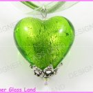 P707F LAMPWORKGLASS GREEN HEART SILVER PENDANT NECKLACE