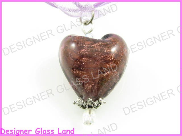 P708F LAMPWORK GLASS PP HEART SILVER PENDANT NECKLACE