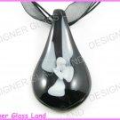 P729F LAMPWORK GLASS BLACK 3D LEAF PENDANT NECKLACE