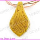 P730F LAMPWORK GLASS GOLDEN LEAF PENDANT NECKLACE GIFT
