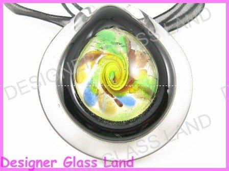 P736F LAMPWORK GLASS MAGIC BLACK ROUND PENDANT NECKLACE