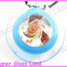 P759F LAMPWORK GLASS MAGIC BLUE ROUND PENDANT NECKLACE