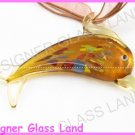P768F LAMPWORK GLASS TOPAZ DOLPHIN PENDANT NECKLACE