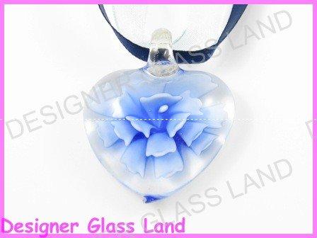 P782F LAMPWORK GLASS 3D NAVY HEART PENDANT NECKLACE