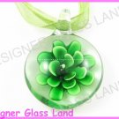 P786F LAMPWORK GLASS 3D GREEN FLOWER PENDANT NECKLACE
