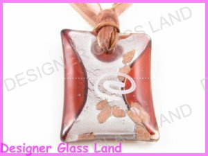 P796F LAMPWORK GLASS RED GRID PENDANT NECKLACE