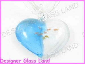 P803F LAMPWORK GLASS BLUE WHITE HEART PENDANT NECKLACE