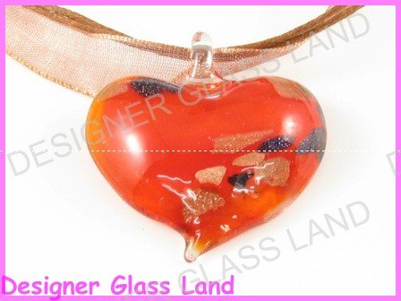 P812F LAMPWORK GLASS RED HEART PENDANT NECKLACE GIFT