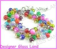 W218F LOT 10PCS COLORFUL BEADS SILVER CHARMS BRACELET