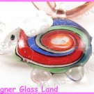 P824F LAMPWORK GLASS WHITE ELEPHANT PENDANT NECKLACE