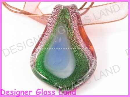 P827F LAMPWORK GLASS SILVER LEAF PENDANT NECKLACE GIFT