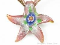 P829SF LAMPWORK GLASS MILLEFIORI STAR PENDANT NECKLACE