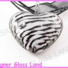 P830F LAMPWORK GLASS 3D HEART TWIST PENDANT NECKLACE