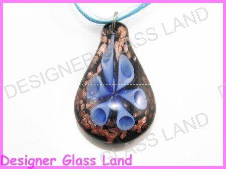P852F LAMPWORK GLASS NAVY 3D HORN  PENDANT NECKLACE