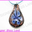 P852F LAMPWORK GLASS NAVY 3D HORN  PENDANT NECKLACE