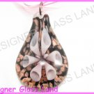 P855F LAMPWORK GLASS LILAC 3D FLOWER PENDANT NECKLACE
