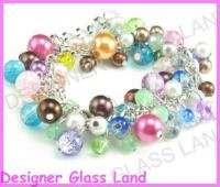 """B434 COLORFUL GLASS BEADS SILVER CHARMS BRACELET 7"""""""