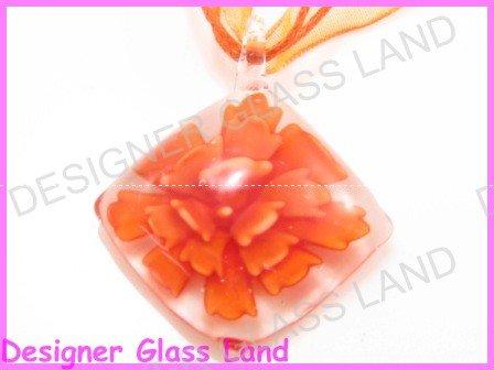 P862F LAMPWORK GLASS ORANGE 3D FLORAL PENDANT NECKLACE