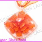 P862F LAMPWORK GLASS ORANGE 3D FLORAL PENDANT NECKLACE