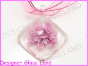 P864F LAMPWORK GLASS 3D PINK DIAMOND SHAPED PENDANT