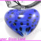 P866F LAMPWORK GLASS DALMATIAN HEART PENDANT NECKLACE