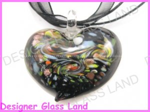 P869F LAMPWORK GLASS BLACK HEART PENDANT NECKLACE