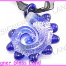 P896F LAMPWORK GLASS NAVY DRAGON PENDANT NECKLACE