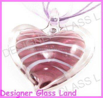 P916F LAMPWORK GLASS PURPLE HEART PENDANT NECKLACE GIFT